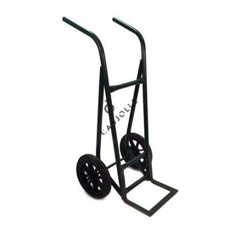 XXL trolley with 2 solid black rubber 400 mm diameter wheels.