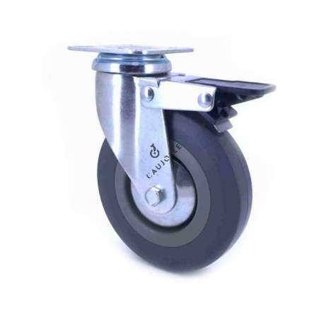 Castor wheel on swivel mounting plate with brake, galvanised chromate pressed steel housing. Swivel action on two collars of ball bearings. The roller tyre is in non-marking rubber, low profile and with threadguard.  Industrial usage possible on smooth and hard floors. Roller Ø125 mm.
