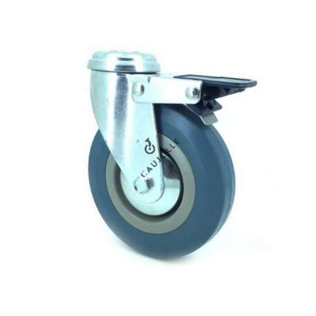 Castor wheel on swivel mounting eye with brake, galvanised chromate pressed steel housing. Swivel action on two collars of ball bearings. The roller tyre is in non-marking rubber, low profile and with threadguard.  Industrial usage possible on smooth and hard floors. Roller Ø125 mm.