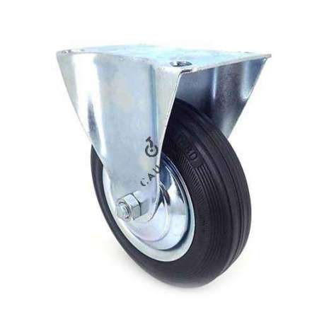 Fixed-position industrial castor wheel in galvanised steel. Roller in black supple rubber, enabling silent handling. Roller bearing, sheet metal rim, threadguard. Ideal for moving loads in a workshop on uneven floors, but also suitable for raising a low living room table.