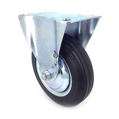 Fixed-position handling castor wheel in galvanised steel. Roller in supple black rubber, enabling silent handling. Roller bearings, sheet metal rim, threadguard. Ideal for moving loads in a workshop on uneven floors, but also suitable for raising a low living room table.