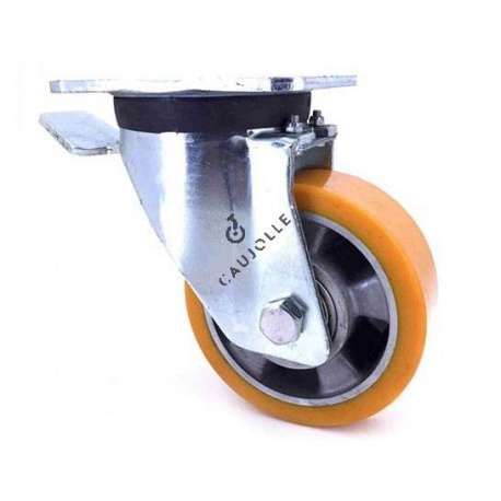 Industrial castor wheel with brake in polyurethane by excellence! 125 mm diameter and 450 kg load.
