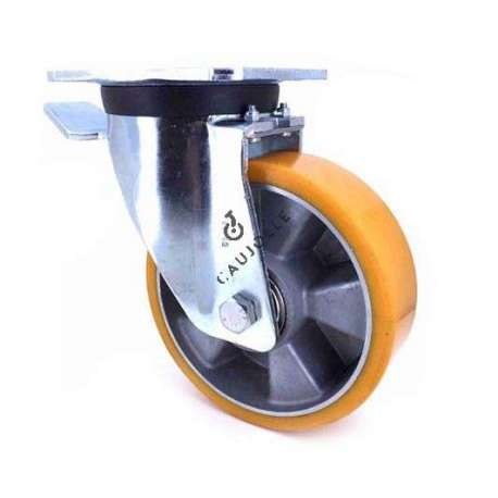 Industrial castor wheel with brake in polyurethane by excellence! 160 mm diameter and 600 kg load.