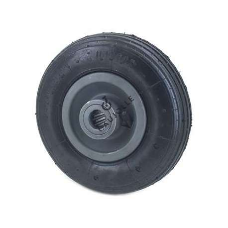 Inflated trolley wheel 200mm diameter with bearings. It houses a roller bearings hub of 20 mm diameter