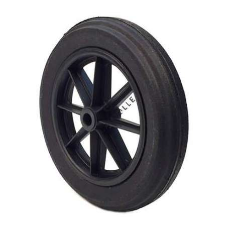Wheelbarrow wheel with hard puncture-proof tyre, in ground rubber, 400 mm diameter.