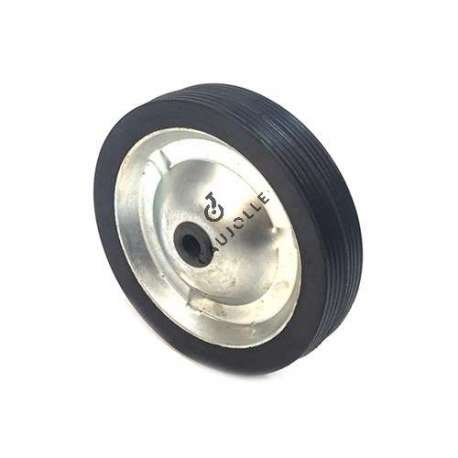 Small wheel in rubber and plate metal, 142 mm diameter.