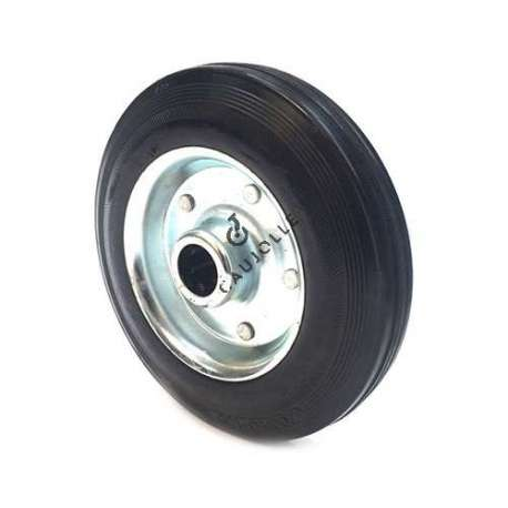 Industrial usage rubber wheel 250 mm diameter, plate metal rim with 25 mm bore