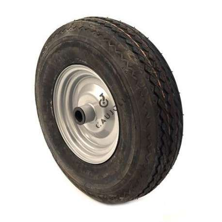 Wheel with 4-ply reinforced tyre, 400 mm diameter, has a roller bearing.