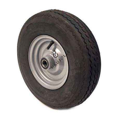 Wheel with 6-ply reinforced tyre, 400 mm diameter, has a ball bearing.