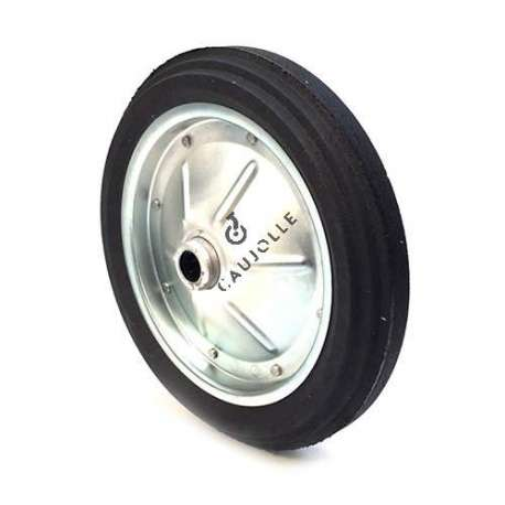 Wheelbarrow wheel with hard puncture-proof tyre, in ground rubber, 360 mm diameter.