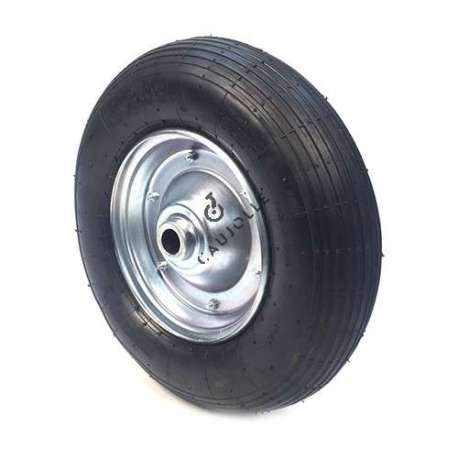 Inflated wheelbarrow wheel 400 mm diameter with roller bearings.