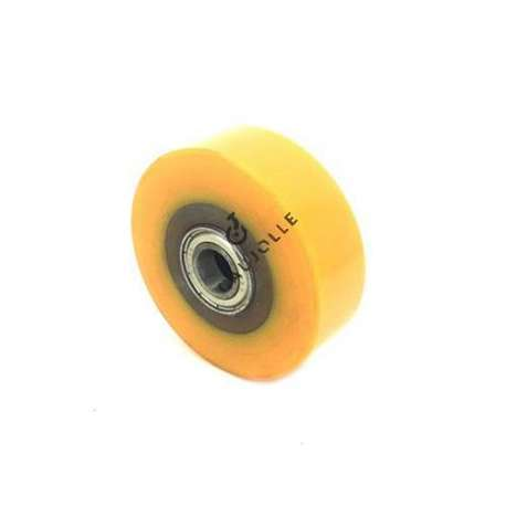 Transpallet wheel, 82 mm diameter and 28 mm large.