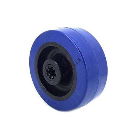 Industrial wheel in blue rubber 100 mm diameter and 12 mm bore.