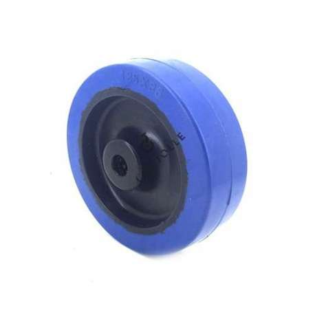 Industrial wheel in blue rubber 125mm diameter and 12 mm bore.