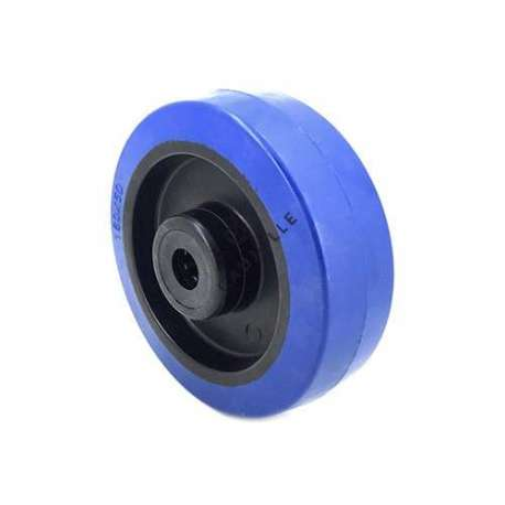 Industrial wheel in blue rubber 160 mm diameter and 12 mm bore.