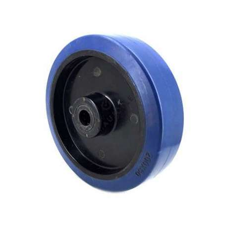 Industrial wheel in blue rubber 200 mm diameter and 12 mm bore.