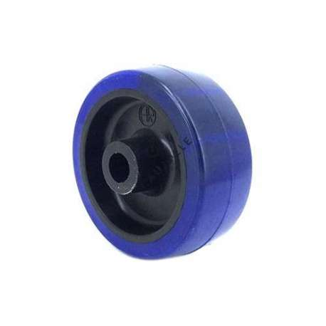 Blue polyurethane industrial wheel, 80 mm diameter without bearings.