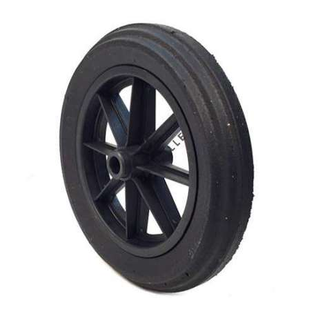 Wheelbarrow wheel with hard puncture-proof tyre, in ground rubber, 400 mm diameter. Ball bearings hub of 25 mm diameter and 100 mm long.