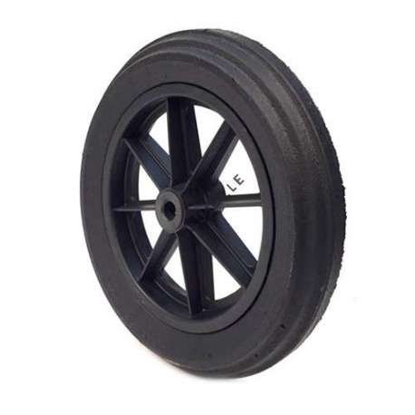 Puncture-proof rubber wheelbarrow wheel 400 mm diameter. Bore with bearings measuring 20 mm diameter and 74 mm long.