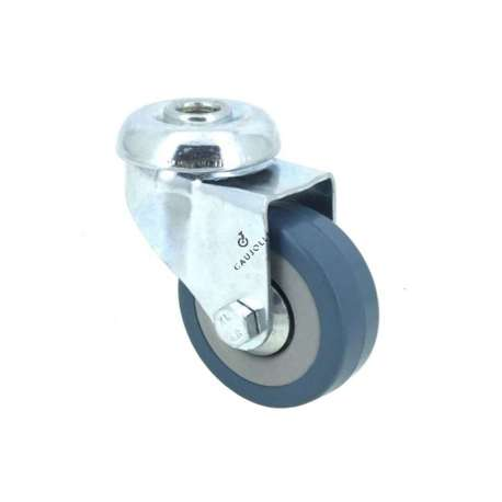 Castor wheel on swivel mounting eye, galvanised chromate pressed steel housing. Swivel action on two collars of ball bearings. The roller tyre is in non-marking rubber, low profile and with threadguard. Industrial usage possible on smooth and hard floors. Roller Ø50 mm.