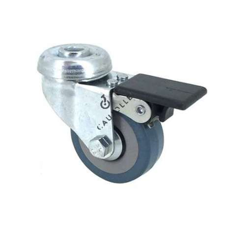 Castor wheel on swivel mounting eye with brake, galvanised chromate pressed steel housing. Swivel action on two collars of ball bearings. The roller tyre is in non-marking rubber, low profile and with threadguard.  Industrial usage possible on smooth and hard floors. Roller Ø50 mm.