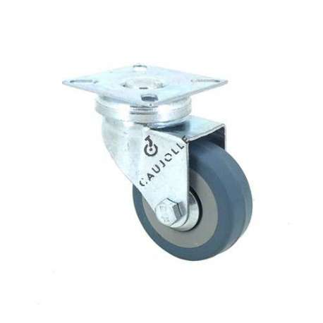 Castor wheel on swivel mounting plate, galvanised chromate pressed steel housing. Swivel action on two collars of ball bearings. The roller tyre is in non-marking rubber, low profile and with threadguard.  Industrial usage possible on smooth and hard floors. Roller Ø50 mm.