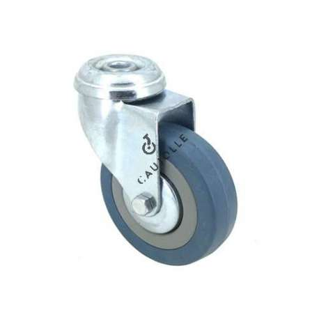 Castor wheel on swivel mounting eye, galvanised chromate pressed steel housing. Swivel action on two collars of ball bearings. The roller tyre is in non-marking rubber, low profile and with threadguard. Industrial usage possible on smooth and hard floors. Roller Ø80 mm