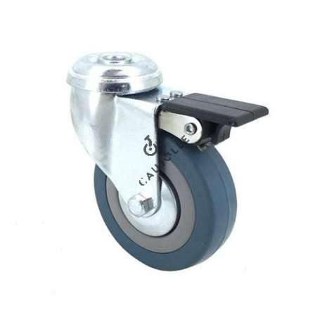 Castor wheel on swivel mounting eye with brake, galvanised chromate pressed steel housing. Swivel action on two collars of ball bearings. The roller tyre is in non-marking rubber, low profile and with threadguard.  Industrial usage possible on smooth and hard floors. Roller Ø80 mm.
