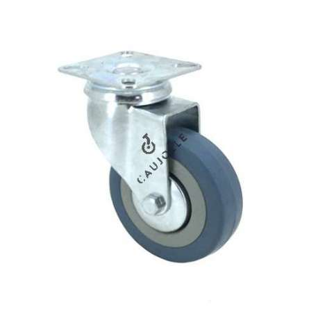 Castor wheel on swivel mounting plate, galvanised chromate pressed steel housing. Swivel action on two collars of ball bearings. The roller tyre is in non-marking rubber, low profile and with threadguard. Industrial usage possible on smooth and hard floors. Roller Ø80 mm.