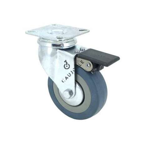 Castor wheel on swivel mounting plate with brake, galvanised chromate pressed steel housing. Swivel action on two collars of ball bearings. The roller tyre is in non-marking rubber, low profile and with threadguard. Industrial usage possible on smooth and hard floors. Roller Ø80 mm.