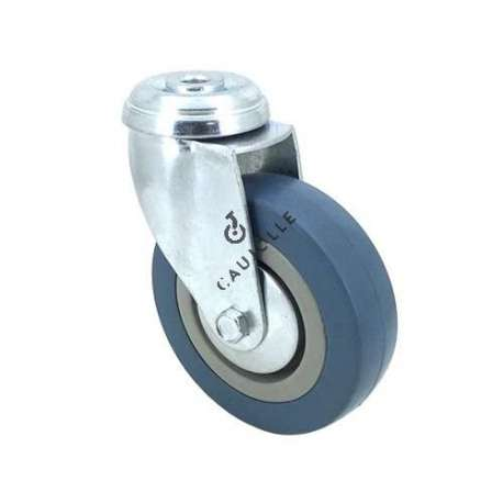 Castor wheel on swivel mounting eye, galvanised chromate pressed steel housing. Swivel action on two collars of ball bearings. The roller tyre is in non-marking rubber, low profile and with threadguard.  Industrial usage possible on smooth and hard floors. Roller Ø100 mm.