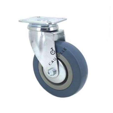 Castor wheel on swivel mounting plate, galvanised chromate pressed steel housing. Swivel action on two collars of ball bearings. The roller tyre is in non-marking rubber, low profile and with threadguard. Industrial usage possible on smooth and hard floors.Roller Ø100 mm.