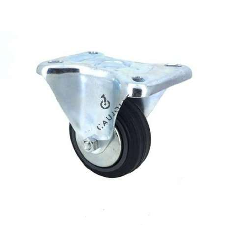 Industrial castor wheel per excellence on steel mounting fixed plate, 80 mm diameter.