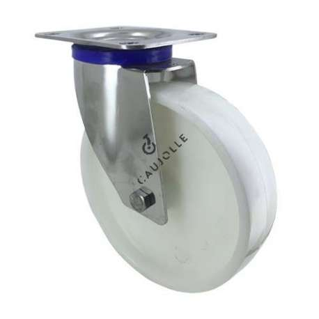 Swivel castor wheel STAINLESS STEEL 200 mm diameter nylon for the food industry.