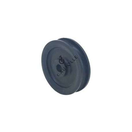 Single pulley 60 mm diameter in black polypropylene.