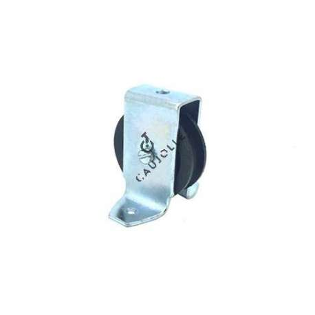 Bracket pulley with attachment lugs 50 mm diameter in black polypropylene.
