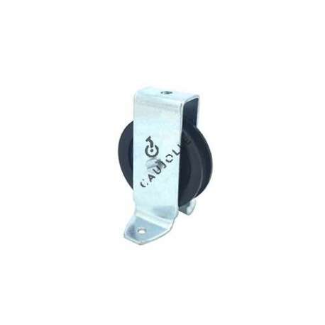 Bracket pulley with attachment lugs 60 mm diameter in black polypropylene.