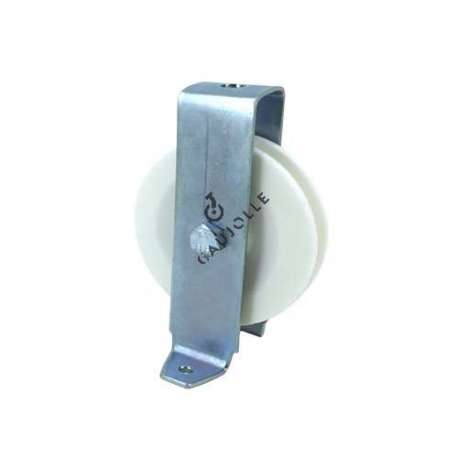 Bracket pulley with attachment lugs 80 mm diameter in white polypropylene.