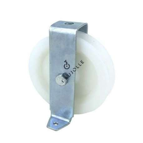 Bracket pulley with attachment lugs 100 mm diameter in nylon