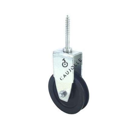 Lag screw pulley 60 mm diameter in black polypropylene.
