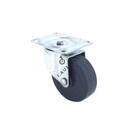 Furniture castor wheel with swivel plate, 50 mm diameter.