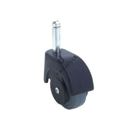 Furniture swivel castor wheel with smooth spindle, 50 mm diameter.