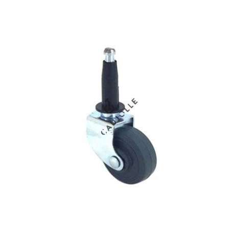 Furniture swivel castor wheel with fixed-position and smooth spindle, 35 mm diameter.