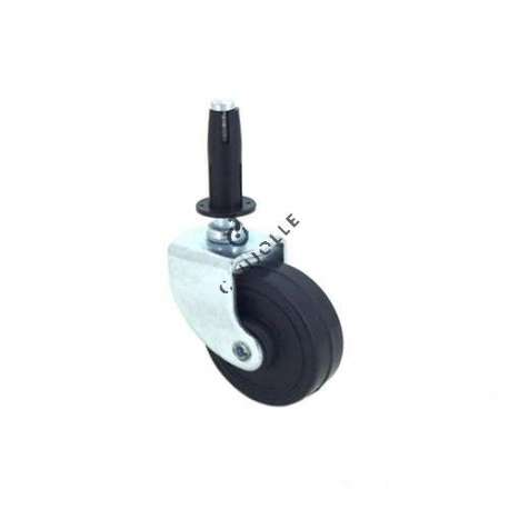 Furniture swivel castor wheel with fixed-position and smooth spindle, 42 mm diameter.