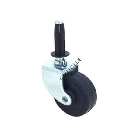 Furniture swivel castor wheel with fixed-position and smooth spindle, 50 mm diameter.