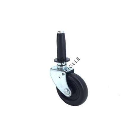 Swivel furniture castor with fixed smooth stem, diameter 37 mm.