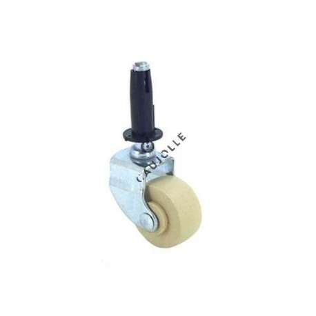 Furniture swivel castor wheel with fixed-position and smooth spindle, 30 mm diameter.