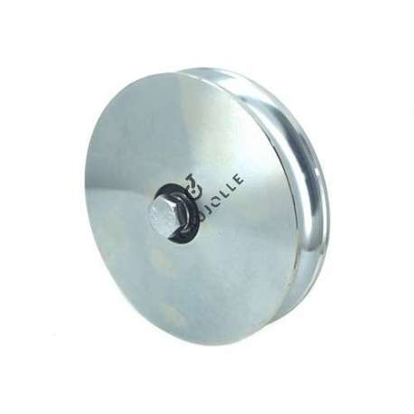 160 mm diameter wide steel wheel with round groove, for a garage or workshop type door or gate.