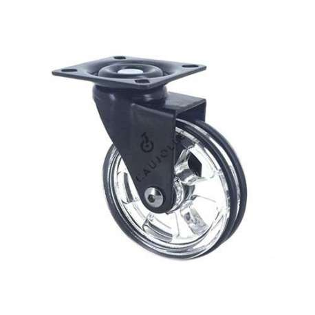 Black swivel designer castor wheel transparent 75 mm diameter.