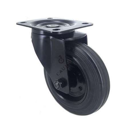 Industrial castor wheel with swivel plate in galvanised steel. Roller in black supple rubber, enabling silent handling. Roller bearing, sheet metal rim, threadguard. Swivel action on two rows of ball bearings. Ideal for moving loads in a workshop on uneven floors, but also suitable for raising a low living room table.